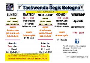 Organizzazione Turni Taekwondo Regis STAGIONE 2017-2018